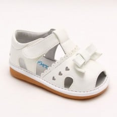 FREYCOO - Chaussures à sifflet | Sandales blanches 3 petits coeurs
