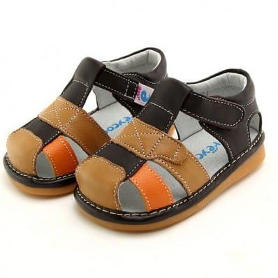 FREYCOO - Krabbelschuhe Babyschuhe squeaky Leder - Jungen   Marone orange sandalen