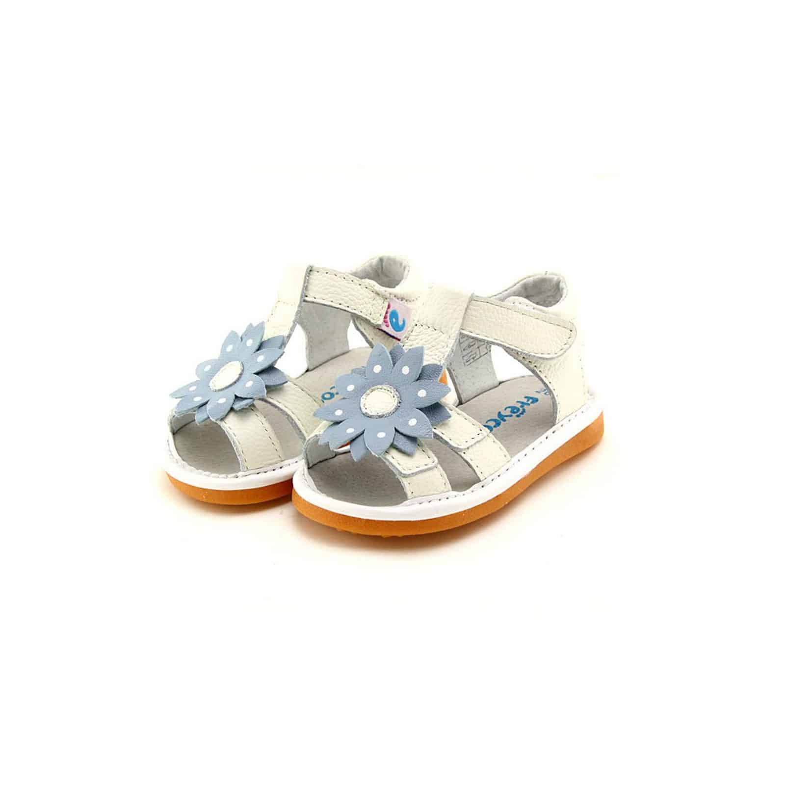 Freycoo Squeaky Leather Toddler Girls Shoes White Sandals With