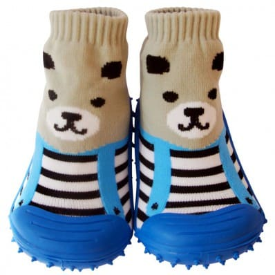 Baby boys girls Socks shoes with grippy rubber | Grey bear