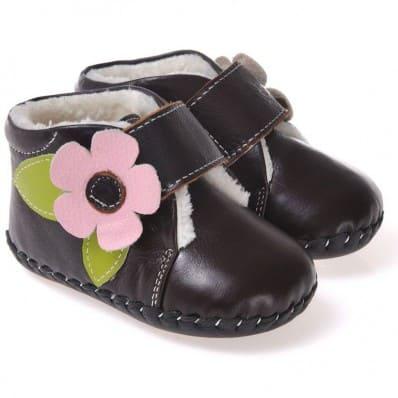 CAROCH - Chaussures premiers pas cuir souple | Montantes noires fourrées fleur rose