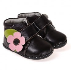 CAROCH - Krabbelschuhe Babyschuhe Leder - Mädchen | Braun stiefel rosa blume