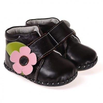 CAROCH - Zapatos de bebe primeros pasos de cuero niñas | Botines Marrón oscuro flor rosa