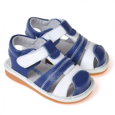 CAROCH - Zapatos de cuero chirriantes - squeaky shoes niños | Sandalias azules banda blanca