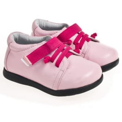 Little Blue Lamb - Zapatos de suela de goma blanda niñas | Fushia cordones rosa