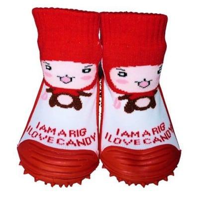 Chaussons-chaussettes bébé antidérapants semelle souple | Chaperon rouge