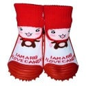 Baby girls Socks shoes with grippy rubber | Red chaperon