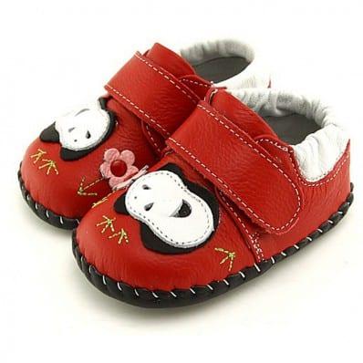 FREYCOO - Chaussures bebe premiers pas cuir souple | Panda modèle rouge