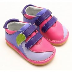 FREYCOO - Squeaky Leather Toddler Girls Shoes | Pink blue shoes