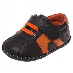 Little Blue Lamb - Baby boys first steps soft leather shoes | Brown and orange sneakers