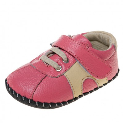 Little Blue Lamb - Zapatos de bebe primeros pasos de cuero niñas | Zapatillas de deporte rosa y beige