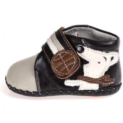 CAROCH - Chaussures premiers pas cuir souple | Montantes grises petit chien