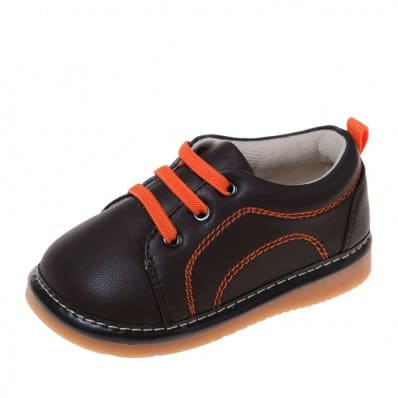 Little Blue Lamb - Squeaky Leather Toddler boys Shoes   Brown orange sneakers