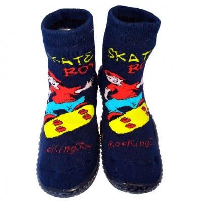 Chaussons-chaussettes enfant antidérapants semelle souple | Skate boy bleu