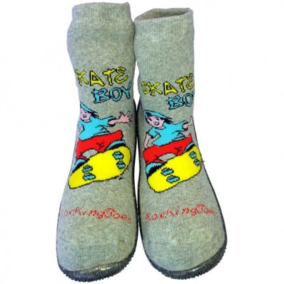 Baby boys Socks shoes with grippy rubber   Skate boy grey