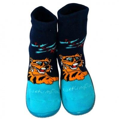 Hausschuhe - Socken Baby Kind geschmeidige Schuhsohle Junge | Tiger blau
