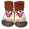 Chaussons-chaussettes nourrisson antidérapants semelle souple | Ours brun