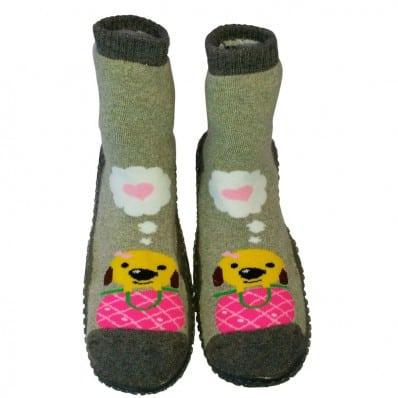 Calcetines con suela antideslizante para niñas   Sweety dog gris