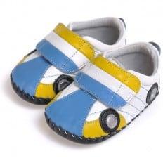 CAROCH - Scarpine primi passi bimba in morbida pelle | Automobile blu e giallo