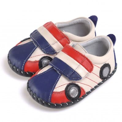 CAROCH - Baby boys first steps soft leather shoes | Blue and red car sneakers