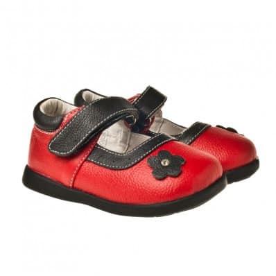 Little Blue Lamb - Soft sole girls Toddler kids baby shoes   Red black flower