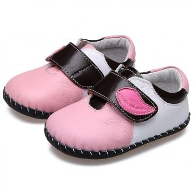 CAROCH - Krabbelschuhe Babyschuhe Leder - Mädchen | Pink mit pink blatt
