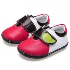 CAROCH - Baby boys first steps soft leather shoes | Red with green leaf