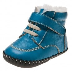 Little Blue Lamb - Baby boys first steps soft leather shoes | Blue filled Bootees