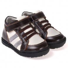 CAROCH - Zapatos de suela de goma blanda niños | Montantes marrón y blanco