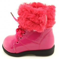 FREYCOO - Soft sole girls kids baby shoes | Pink filled booties