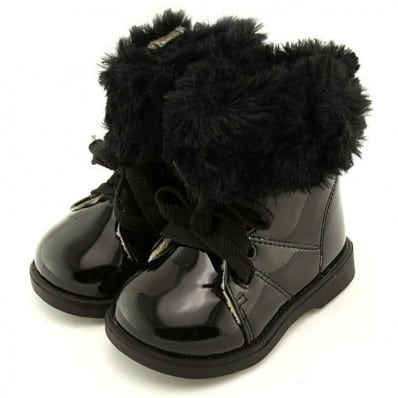 FREYCOO - Soft sole girls kids baby shoes | Black filled booties