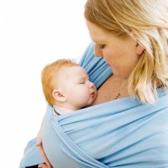 BEBEMOOI - Echarpe de portage - porte bébé coton naturel   Bleu f034546e322