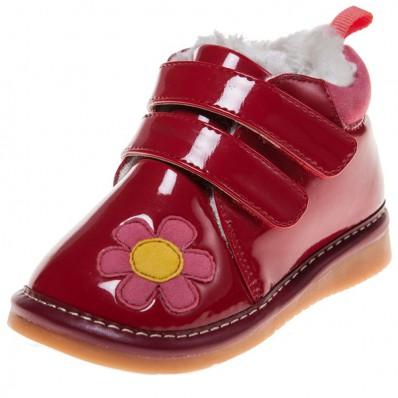 Little Blue Lamb - Chaussures à sifflet   Montantes rouge brillante fleur rose