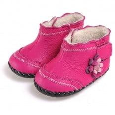 CAROCH - Zapatos de bebe primeros pasos de cuero niñas | Botines forradas rosa con fiore fushia