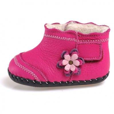 CAROCH - Scarpine primi passi bimba in morbida pelle   Foderate rosa con fiore fushia