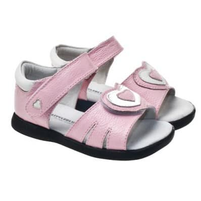 Little Blue Lamb - Soft sole girls Toddler kids baby shoes | Pink sandals big heart