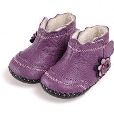 CAROCH - Chaussures premiers pas cuir souple | Montantes fourrées violet avec fleur violette