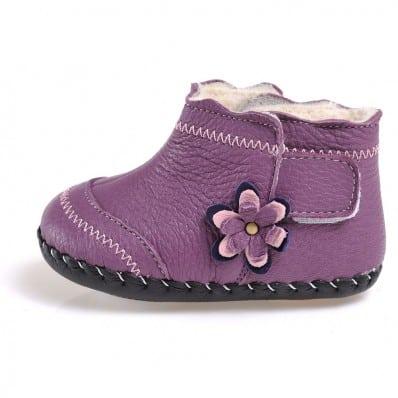 CAROCH - Krabbelschuhe Babyschuhe Leder - Mädchen | Gefüllte stiefel violett mit violett blume
