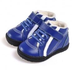 CAROCH - Krabbelschuhe Babyschuhe Leder - Jungen | Blaue Turnschuhe mit weißer streifen