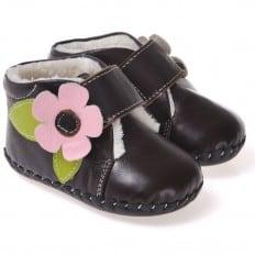 CAROCH - Krabbelschuhe Babyschuhe Leder - Mädchen | Braun gefüllte stiefel rosa blume