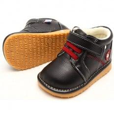 FREYCOO - Zapatos de cuero chirriantes - squeaky shoes niños | Zapatilla de deporte negras cordones rosso