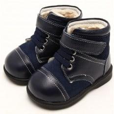 FREYCOO - Krabbelschuhe Babyschuhe  Leder - Jungen | Blau und grau Halbstiefel