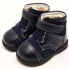 FREYCOO - Soft sole boys kids baby shoes | Blue and grey bootees