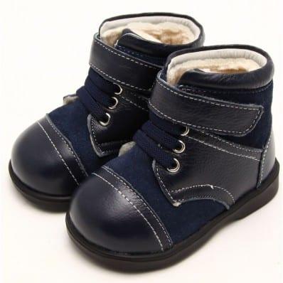 FREYCOO - Zapatos de suela de goma blanda niños | Botines azules e gris