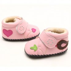 FREYCOO - Krabbelschuhe Babyschuhe Leder - Mädchen | Rosa gefüllte Stiefel mit vogel marone