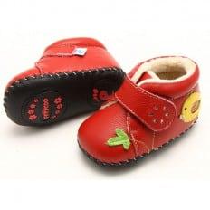 FREYCOO - Zapatos de bebe primeros pasos de cuero niñas | Botines forrados roja con ave amarilla