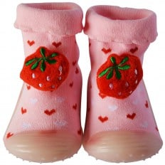 Baby boys girls Socks shoes with grippy rubber | Pink and Strawberry