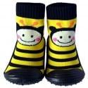 Chaussons-chaussettes enfant antidérapants semelle souple | Abeille