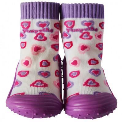 Hausschuhe - Socken Baby Kind geschmeidige Schuhsohle Mädchen | Kleine violette Herzen