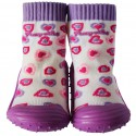 Baby boys girls Socks shoes with grippy rubber | Small purple hearts